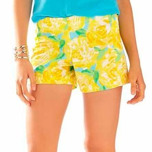 "Lilly Pulitzer 5"" Deenie Yellow Shorts NWT 00"